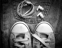 Jeans and sneakers Stock Photo