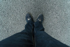 Jeans and sneakers top view Stock Photo