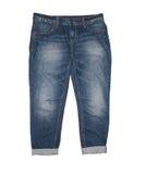 Jeans som isoleras på vit fotografering för bildbyråer