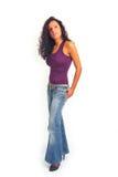 jeans som plattforer kvinnan Arkivfoto