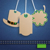 Jeans St Patricks Day 3 Carton Price Stickers Hat Shamrock. 3 price stickers on the jeans background for St. Patrick's Day Sale Royalty Free Stock Photo
