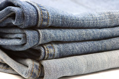 Jeans Stack. Isolated on white Stock Photos