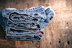 Jeans stack Royalty Free Stock Image