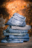 Jeans stack vintage Stock Photos