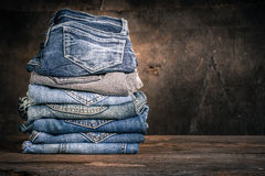 Jeans stack vintage Royalty Free Stock Image