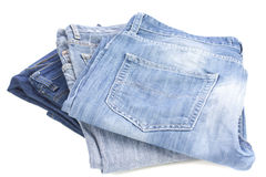 Jeans stacked Stock Photography