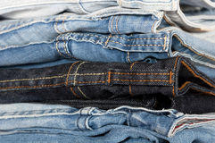 Jeans stacked Royalty Free Stock Image