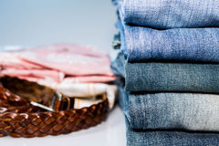Jeans Stacked Stock Photo