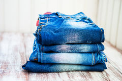 Jeans stacked Stock Photos
