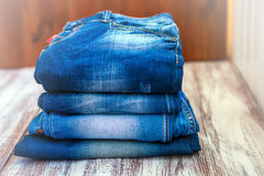 Jeans stacked Stock Image