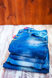 Jeans stacked Royalty Free Stock Photography