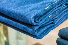 Jeans store close up Royalty Free Stock Photo