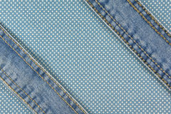 Jeans with stitch on blue dot fabric Stock Photography