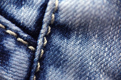 Jeans stitching, macro Royalty Free Stock Image