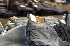 Jeans in store Royalty Free Stock Photos