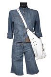 Jeans suit and bag Royalty Free Stock Photos