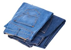Jeans sur le fond blanc Photos libres de droits