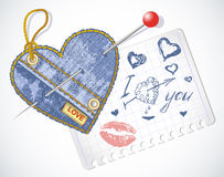 Jeans symbols vector heart Stock Photography