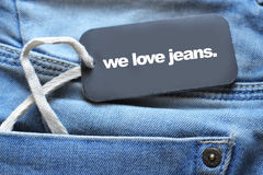 Jeans with tag Royalty Free Stock Photography