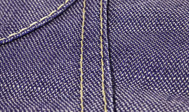 Jeans textile with close view on seams Royalty Free Stock Photos