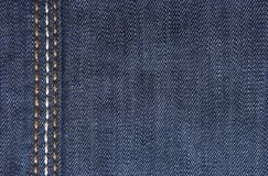 Jeans textiles. Blue jeans fabric with three stripes close up Royalty Free Stock Photo