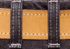 Jeans texture. Black jeans texture detail of cloth and belt Royalty Free Stock Images