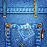 Jeans Texture. With Pocket, Rivets and Condom, vector illustration Royalty Free Stock Photography