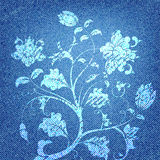 Jeans Texture. With Flower ornament, vector illustration Royalty Free Stock Photo