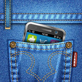 Jeans Texture. With Mobile Phone, vector illustration Stock Photo