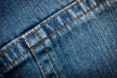 Jeans texture. Worn blue denim jeans texture with stitch Royalty Free Stock Photo