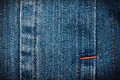 Jeans texture. Worn blue denim jeans texture with stitch Royalty Free Stock Photography