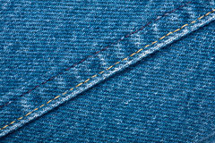 Jeans texture. Worn blue denim jeans texture with stitch Stock Photography