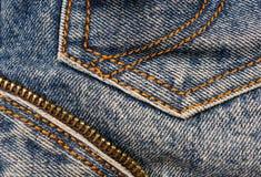Jeans texture. & background, pocket, zipper Royalty Free Stock Photos