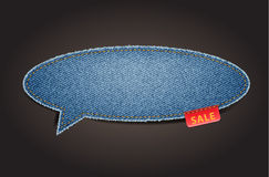 Jeans texture background on retro speech bubbles Stock Photo