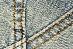 Jeans texture background and seam for text area Royalty Free Stock Photos