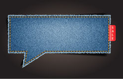 Jeans texture background on speech bubbles Stock Image