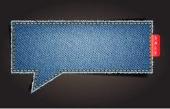 Jeans texture background on speech bubbles vector illustration