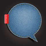 Jeans texture background on speech bubbles Royalty Free Stock Photography