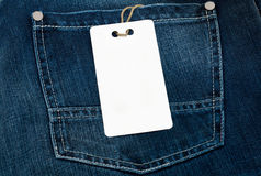 Jeans texture with empty label. For your text royalty free stock image