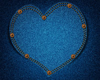 Jeans texture with heart Royalty Free Stock Photography