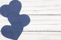 Jeans texture Heart shape Stock Photography