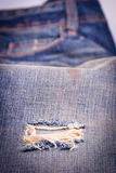 Jeans texture with hole Royalty Free Stock Image