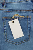 Jeans texture and price tag Stock Photos