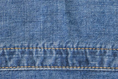 Jeans texture with seam. Highly detailed blue jeans texture with seam Stock Photography