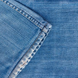 Jeans texture with seam. Blue jeans for textured with seam background Stock Images