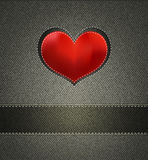 Jeans texture and Silk Heart Royalty Free Stock Image
