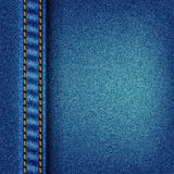 Jeans texture with stitch. Fabric blue jeans background vector eps10 illustration Stock Photography