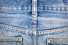 Jeans texture. Worn blue denim jeans texture with stitch Stock Image