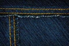 Jeans texture. Worn dark blue denim jeans texture with stitch Royalty Free Stock Image