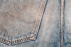Jeans texture. Worn dirty blue denim jeans texture with stitch Royalty Free Stock Photos